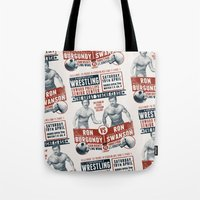 the Great 'Stache Clash (brick & blue variant) Tote Bag