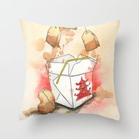 Tea Bags and Take out Throw Pillow