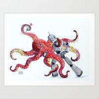 Robot Octopus Tango Date Art Print
