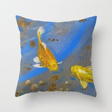 Pair of Golden Koi Throw Pillow