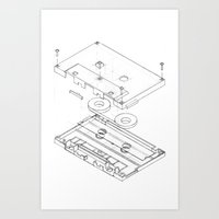 Exploded Cassette Tape  Art Print