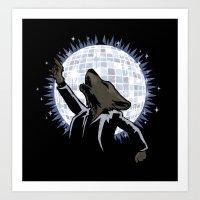 Howling at the Disco Moon Art Print