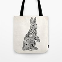 Tote Bag featuring Rabbit2 by Suburban Bird Designs
