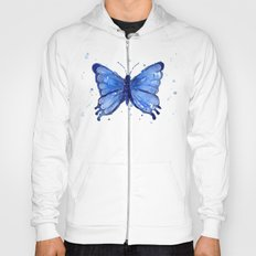 Butterfly Watercolor Blue Painting Hoody