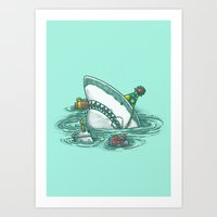 Happy Birthday Shark Art Print