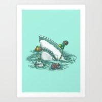 Happy Birthday Shark Art Print