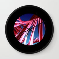 red palm leaf VII Wall Clock