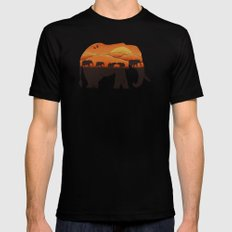 African Elephant Mens Fitted Tee SMALL Black