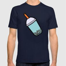 Bubble Tea Pattern Mens Fitted Tee Navy SMALL