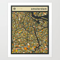 Art Print featuring AMSTERDAM MAP by Jazzberry Blue