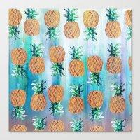 Pineapple Beach Aqua Canvas Print