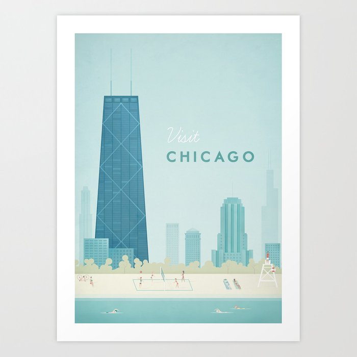 Vintage chicago travel poster art print by travel poster for Vintage chicago posters
