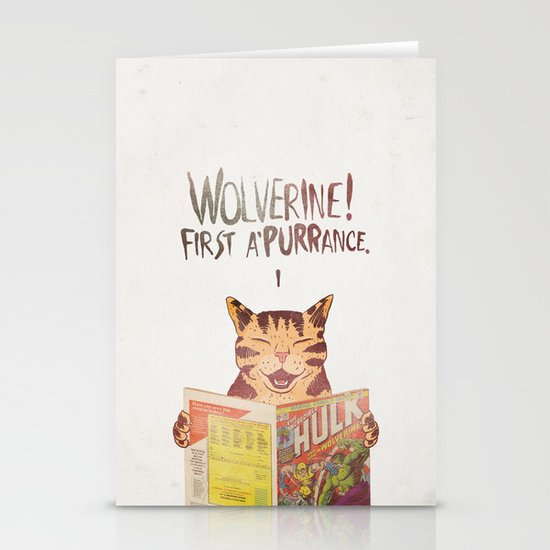 WOLVERINE! FISRT A'PURR'ANCE! Stationery Card