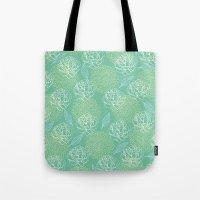 Pastel Peony and Leaf Pattern Design  Tote Bag