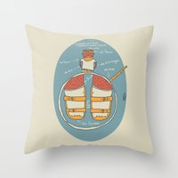 der Strumpf, die Sandale. Throw Pillow