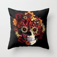 Full circle...Floral ohm skull Throw Pillow
