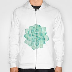 Watercolor Succulent print in seafoam green blue color botanical abstract painting Hoody