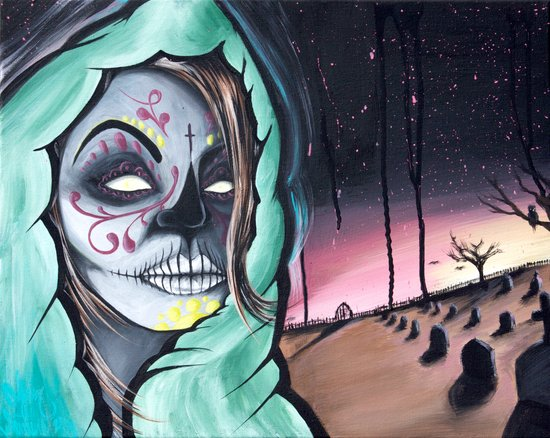 Dia De Los Muertos themed painting by Adam Valentino Canvas Print