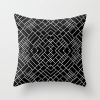 PS Grid 45 Black Throw Pillow