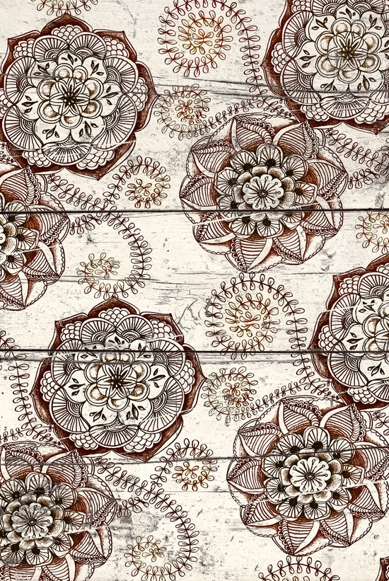 Coffee & Cocoa - brown & cream floral doodles on wood Art Print