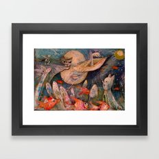 GATO LUNA Framed Art Print