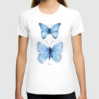 Two Blue Butterflies Watercolor Womens Fitted Tee White SMALL