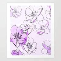 Painted Wild Roses Purpl… Art Print