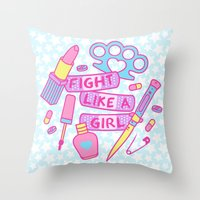 Girl Fighter Throw Pillow