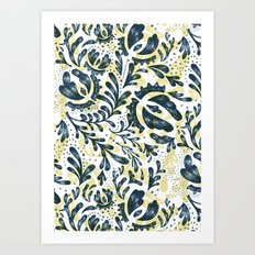 Blue Flowers Pattern Art Print