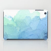 Abstract Watercolor Texture Blue Green iPad Case
