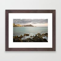 Cloudy Sunset Over Diamo… Framed Art Print