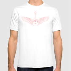 Flying Guitar. SMALL White Mens Fitted Tee