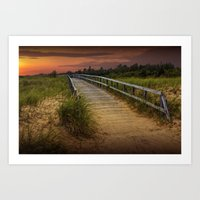 Boardwalk along the Beach at Sunset by Manistique in the Upper Peninsula of Michigan No. 0985 A Fine Art Print
