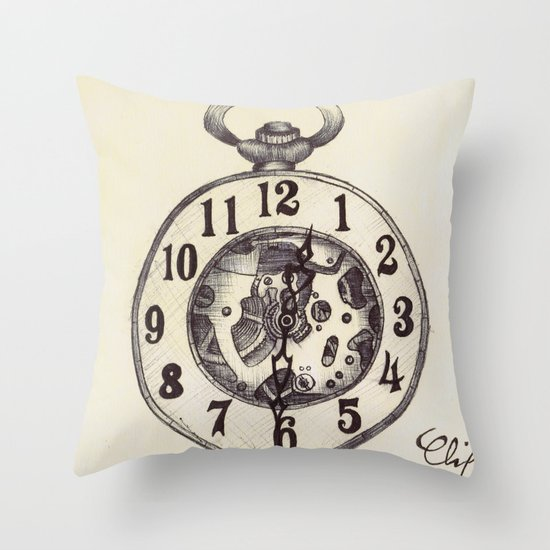 Ballpoint Pen, Half Hunter Pocket Watch Throw Pillow