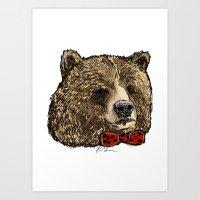 Bow Tie Bear Art Print