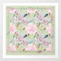 Shabby Chic Bluebirds An… Art Print