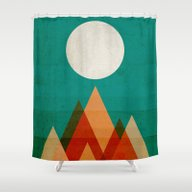Shower Curtain featuring Full Moon Over Sahara De… by Budi Kwan