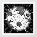 Wonderful Flowers B&W Art Print