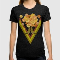 In my world, flowers come out of guns Womens Fitted Tee Tri-Black SMALL
