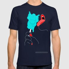 Lick that Buddha (black) Mens Fitted Tee Navy SMALL