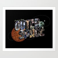 Art Print featuring Greetings From Outer Space (color 01) by Eric Zelinski