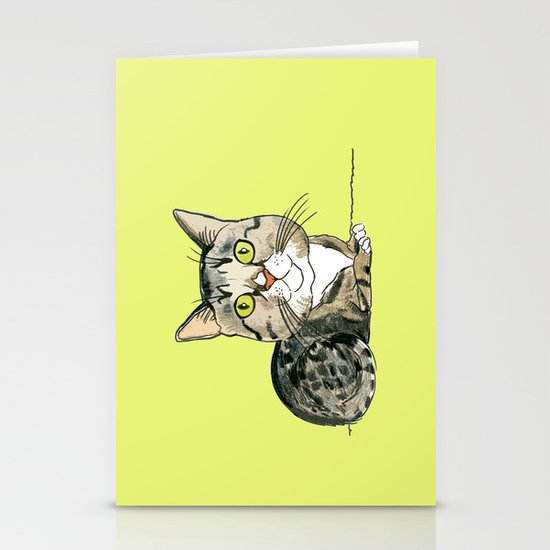 Green-eyed Cat Stationery Card