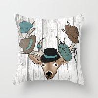 Deer Hat Rack Throw Pillow