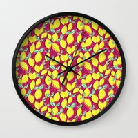Lemon and pink Wall Clock