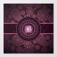 Monogrammed Aridi B Pink Canvas Print