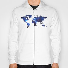 Space Milkyway World Map - Blue Hoody