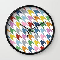 Houndstooth Colour Wall Clock