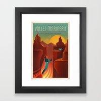 DISCOVER MARS - Valles Marineris | Space | X | Canyon | Retro | Vintage | Futurism | Sci-Fi Framed Art Print