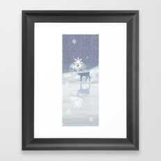 a deer with nine horns is bringing back the sun~ illustration  Framed Art Print