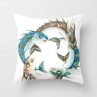 INKYFISH - Fish Circle #3 Throw Pillow